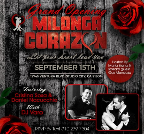 "Milonga ""Corazon"" - Grand Opening - Friday, September 15th"